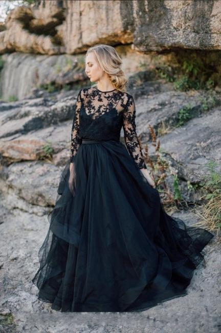 Schwarze Brautkleider mit Ärmel | A Linie Hochzeitskleider mit Spitze