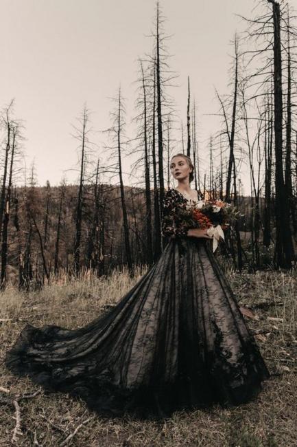 Schwarze Brautkleider Mit Ärmel | Spitze Hochzeitskleid A Linie