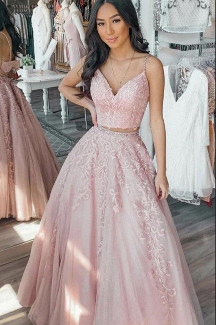 Designer Evening Dresses Long Pink | Lace prom dresses online