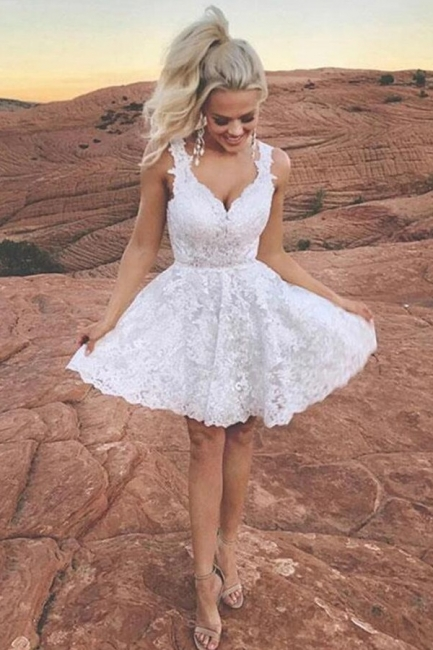 Cocktail dresses short white | Ball gowns with lace