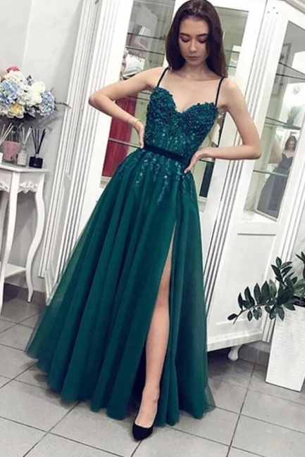 Designer Abendkleider Lang Grün | Abendmoden mit Spitze