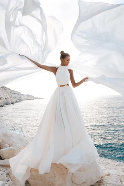 Sommer Chiffon Brautkleider Günstig | Schlichte Hochzeitskleid Online