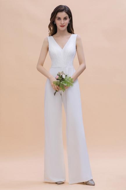Schlichtes Abendkleid Jumpsuit | Weiße Brautjungfernkleider Lang Günstig