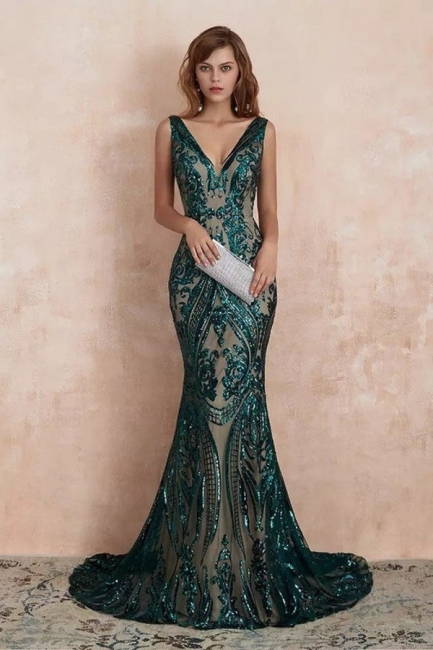 Green Evening Dresses Long V Neck | Prom dresses glitter