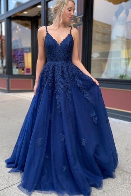 King Blue Evening Dresses Long Cheap | Prom dresses with lace