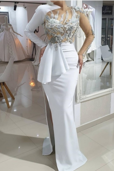 Evening dresses long white | Prom dresses with sleeves online