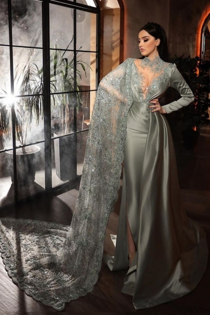 Silver evening dresses with lace | Beautiful prom dresses long sleeves