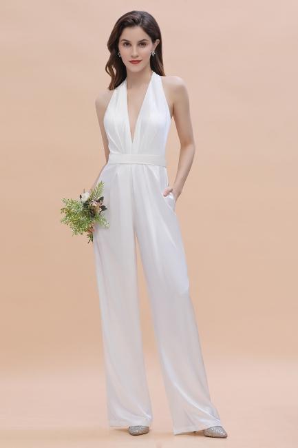 Jumpsuit Brautjungfernkleider |  Brautjungfernkleid Lang Weiß