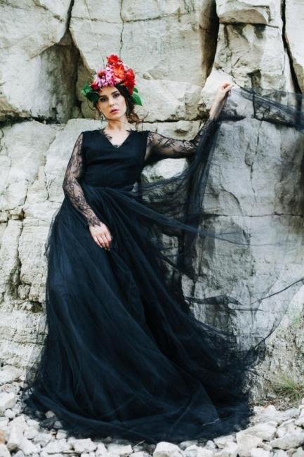 Simple black wedding dress with sleeves | Wedding dresses with lace