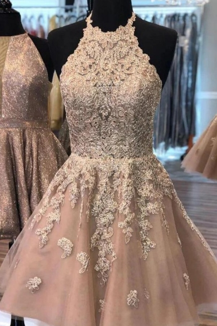 Champagne cocktail dresses short | Elegant party dresses with lace
