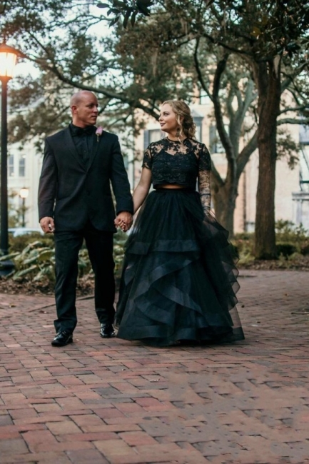 2 Part Wedding Dresses With Sleeves | Lace wedding dress black