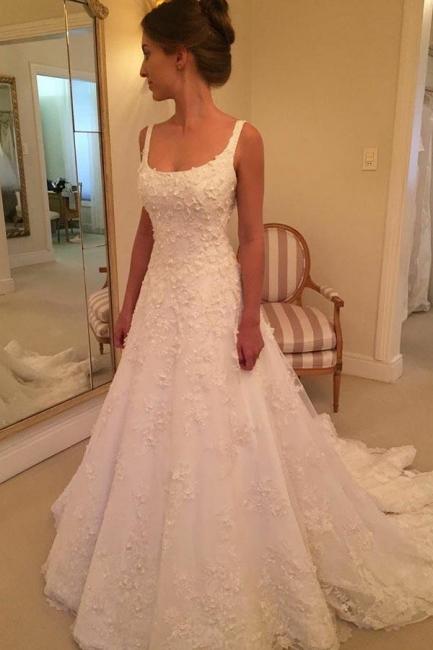 Fashion Hochzeitskleider A Linie Späghetti Träger Spitze Hochzeitskleider Online