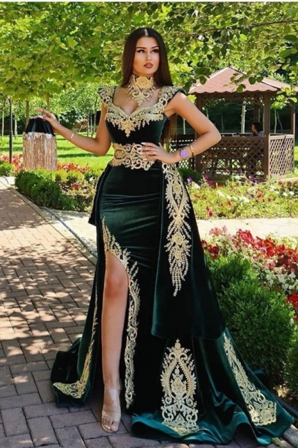 Evening dresses long green | Evening wear prom dress with lace