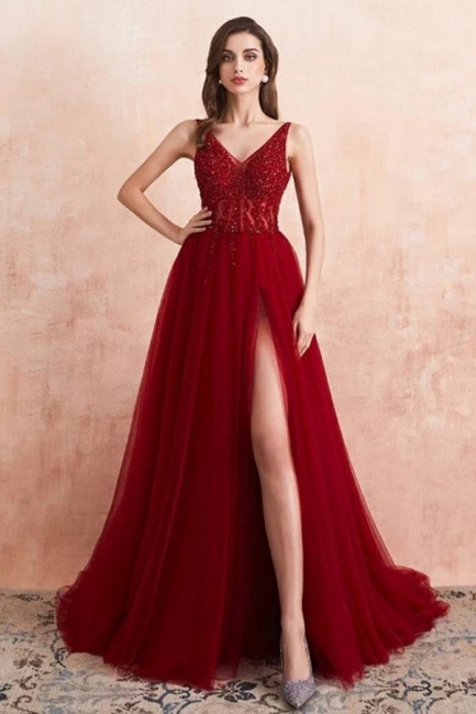 Elegant evening dresses V neckline | Prom dresses long red online