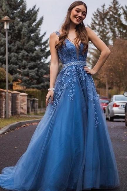 Schöne Abendkleider mit Spitze | Blaue Abiballkleid V Ausschnitt