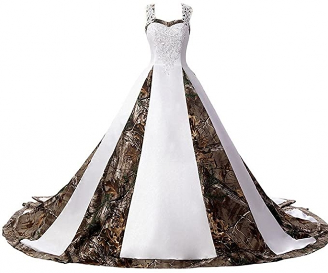 Camouflage wedding dresses A line | Camouflage bridal wear online