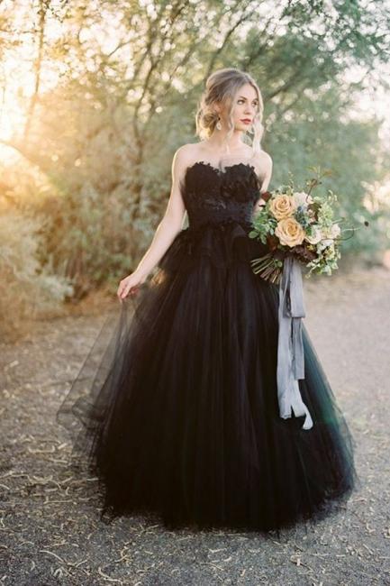 Schwarzes Hochzeitskleid A Linie | Tülle Brautkleider Online