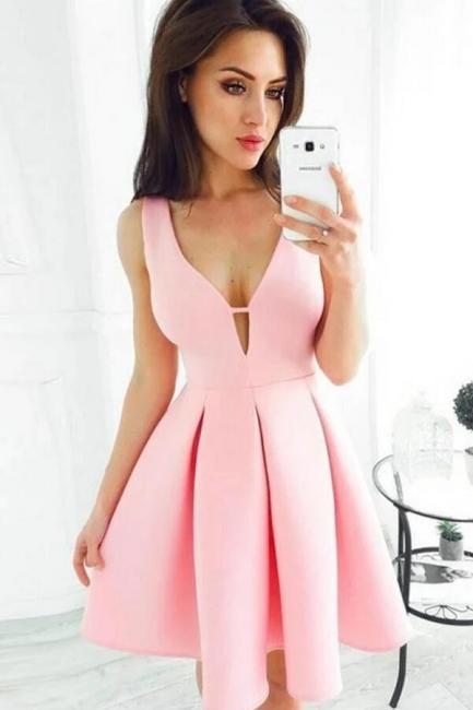 Schlichte Cocktailkleider Partykleider | Abendkleid Kurz Rosa