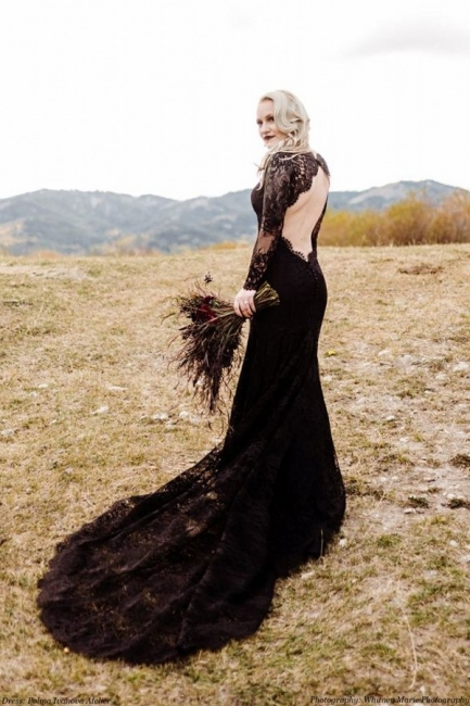 Schwarze Brautkleider Mit Ärmel | Meerjungfrau Hochzeitskleid Spitze