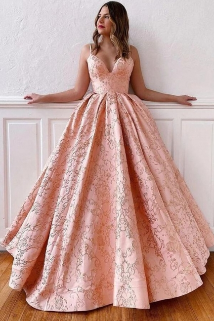 Luxury evening dress long pink | V Neck Prom Dresses Online