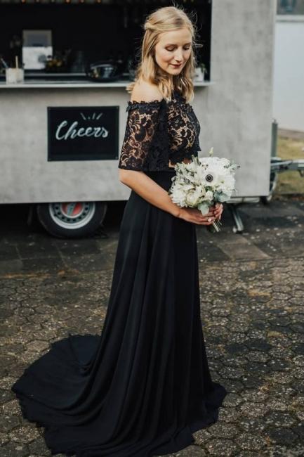 2 Teilige Brautkleid Schwarz | Hochzeitskleid Mit Spitzelärmel