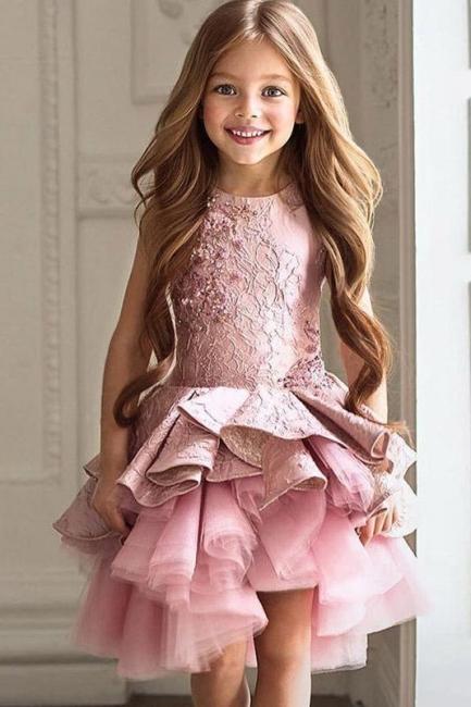 Blumenmädchen Kleid Spitze  | Blumenmädchenkleider Rosa