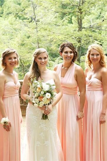 Brautjungfernkleid Rosa | Chiffon Brautjungfernkleider Günstig