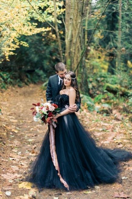 Black wedding dress A line | Tulle wedding dress cheap online