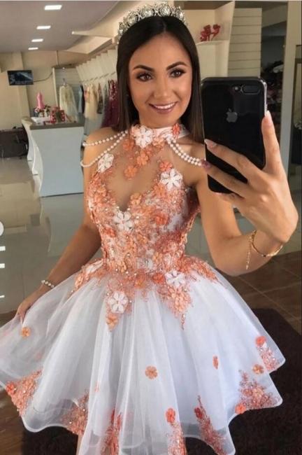 Cocktailkleider Weiß mit Spitze | Partykleider Abendkleider Kurz