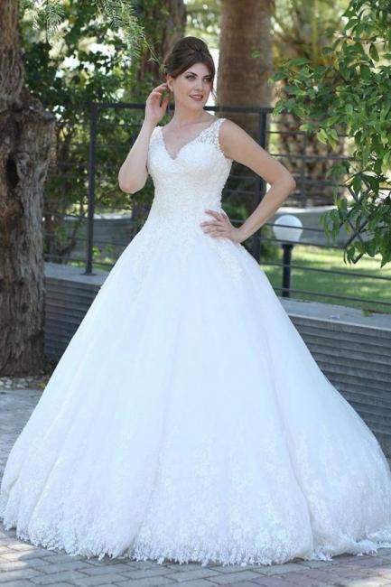 Elegant wedding dresses V neckline | A line wedding dress with lace