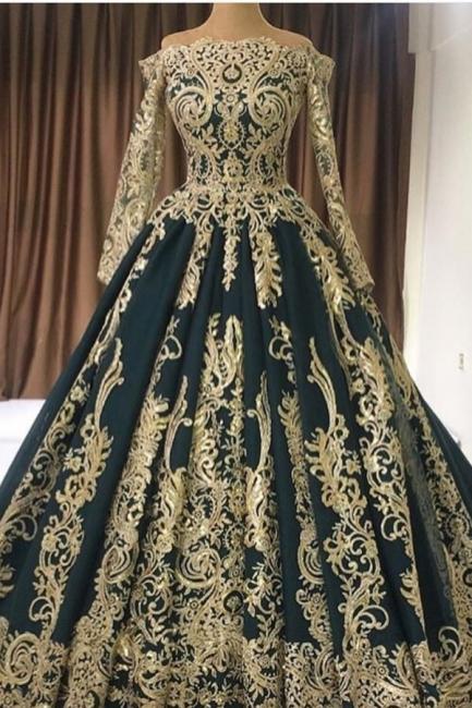 Abendkleider Große Größe   Dunkelgrünes Abendkleid Lang mit Ärmel