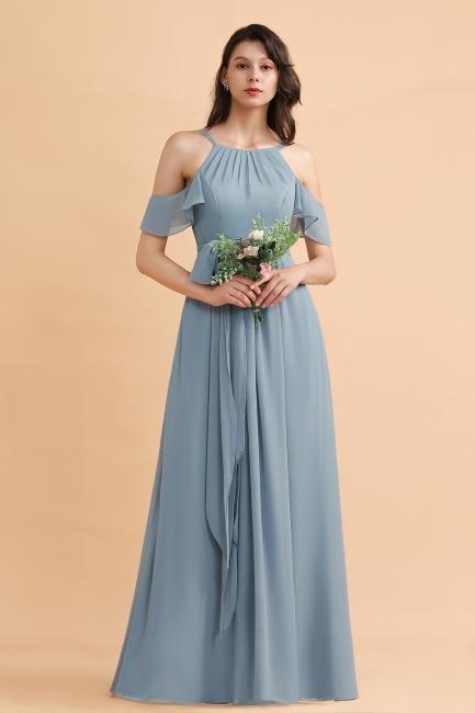 Stahlblau Brautjungfernkleider Günstig | Brautjungfernkleid Lang Chiffon
