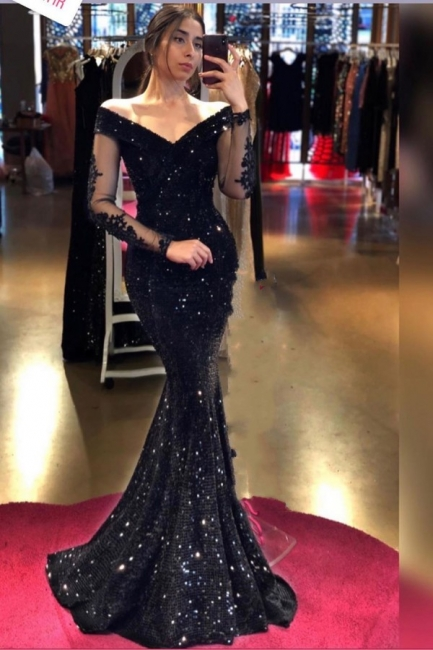 Designer Evening Dresses Long Black | Prom dresses glitter with sleeves