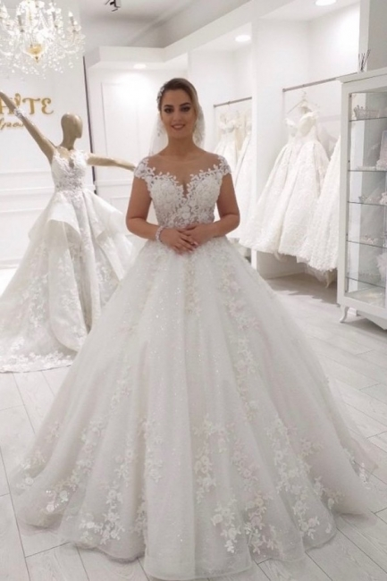 Wedding dress princess glitter | Wedding dress lace A line
