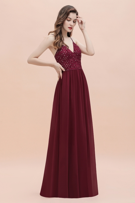 Evening dress long V neckline | Wine red prom dresses