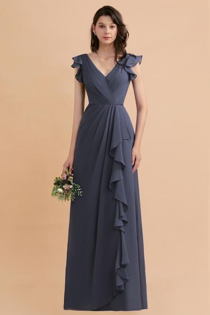 Brautjungfernkleider Lang Grau | Chiffon Kleider Für Brautjungfern