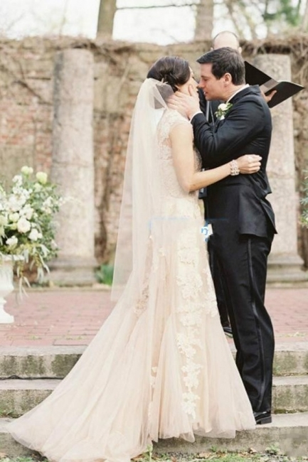 Beautiful blush wedding dress | Wedding dresses a line with lace