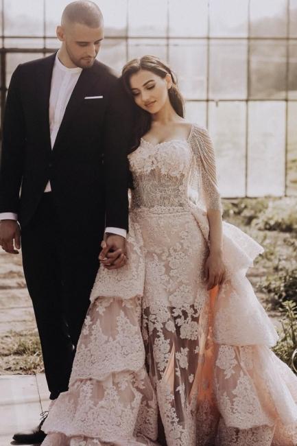 Wunderschöne Brautkleid Blush | A Linie Hochzeitskleid mit Spitze