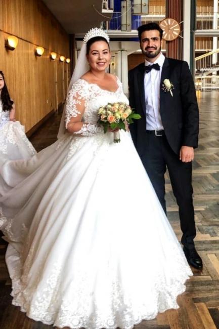 Schöne Brautkleider A Linie Mit Spitze | Prinzessinen Brautkleider mit Ärmel