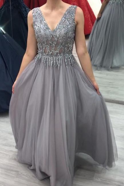 Elegante Abendkleider Lang V Ausschnitt   Abiballkleider Glitzer