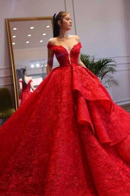 Extravagante Abendkleider Lang Rot | Abenmoden Spitze