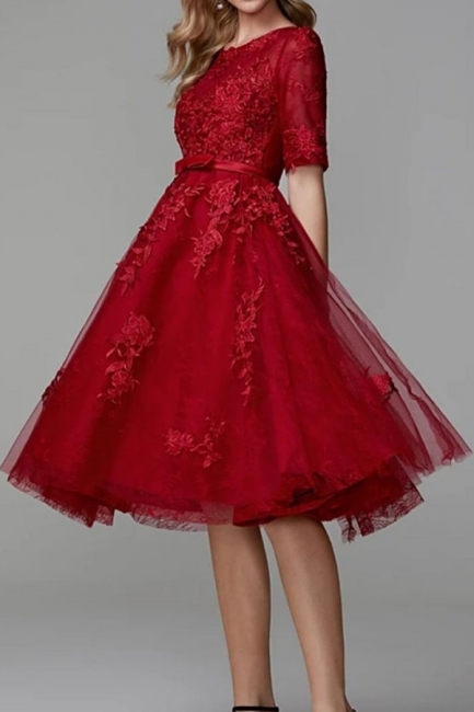Evening dresses short red | Lace cocktail dresses with sleeves