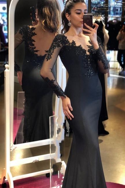 Designer Abendkleider Lang schwarz | Abiballkleider mit Ärmel