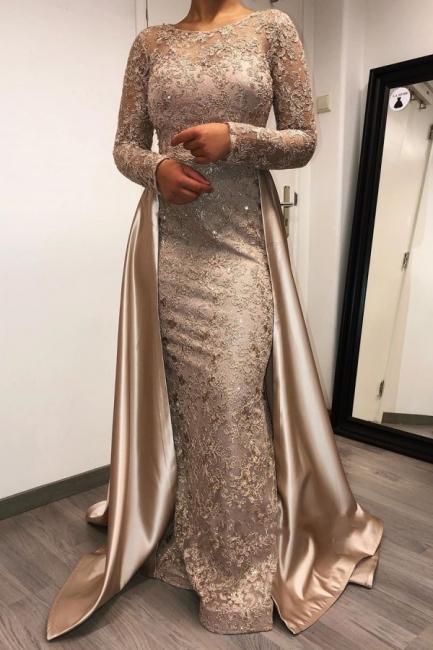 Designer Abendkleider Lang mit Ärmel | Spitze Brautmutterkleider Günstig