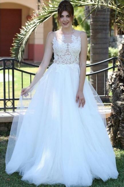 Weiße Brautkleider mit Spitze | Schlichte Hochzeitskleider Kaufen