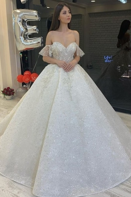 Elegant wedding dresses glitter | Wedding dress A line