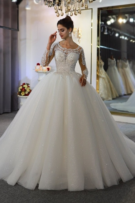 Extravagant wedding dresses with sleeves | Fancy wedding dresses princesses