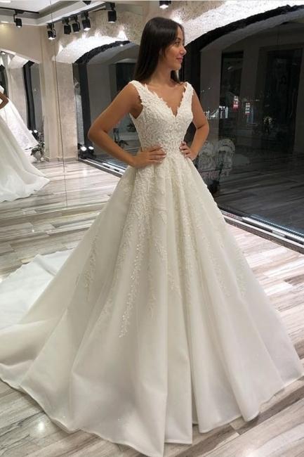 Designer Brautkleid V Ausschnitt | Hochzeitskleider  A Linie mit Spitze
