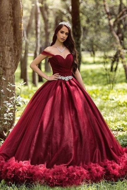 Burgundy wedding dresses princess | Cheap wedding dresses online