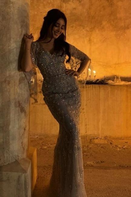 Abendkleid Lang mit Ärmel | Extravagante Abendkleider